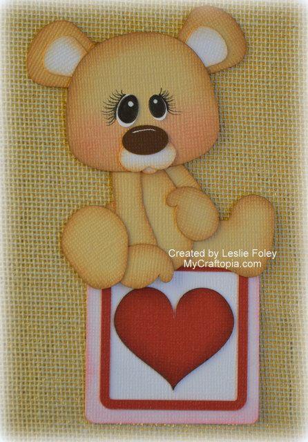 Valentines Sitting Bear Premade Scrapbooking by MyCraftopia