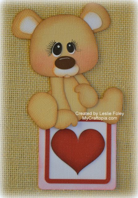 Valentines Sitting Bear Premade Scrapbooking by MyCraftopia