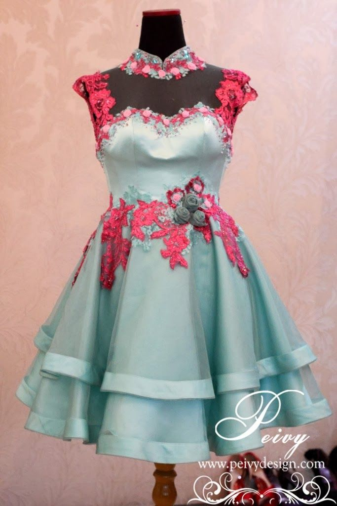 Mint and pink lace dress by Peivy Design