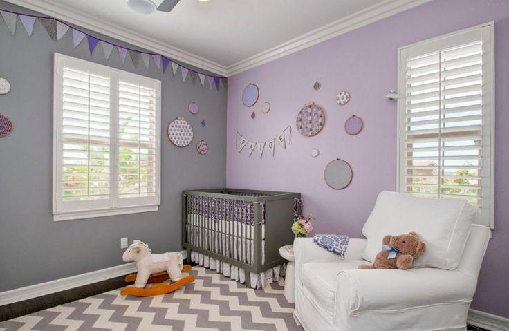 Des idées de chambres pour bébé décorées avec la couleur lavande