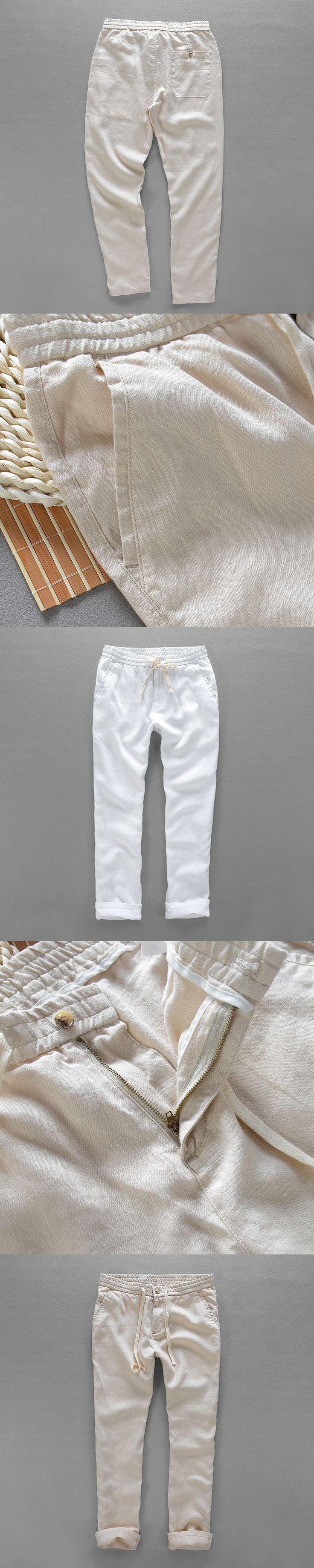 Elastic waist casual pants men brand linen trousers men long spring pants mens loose solid trousers mens plus size 40 pantalon