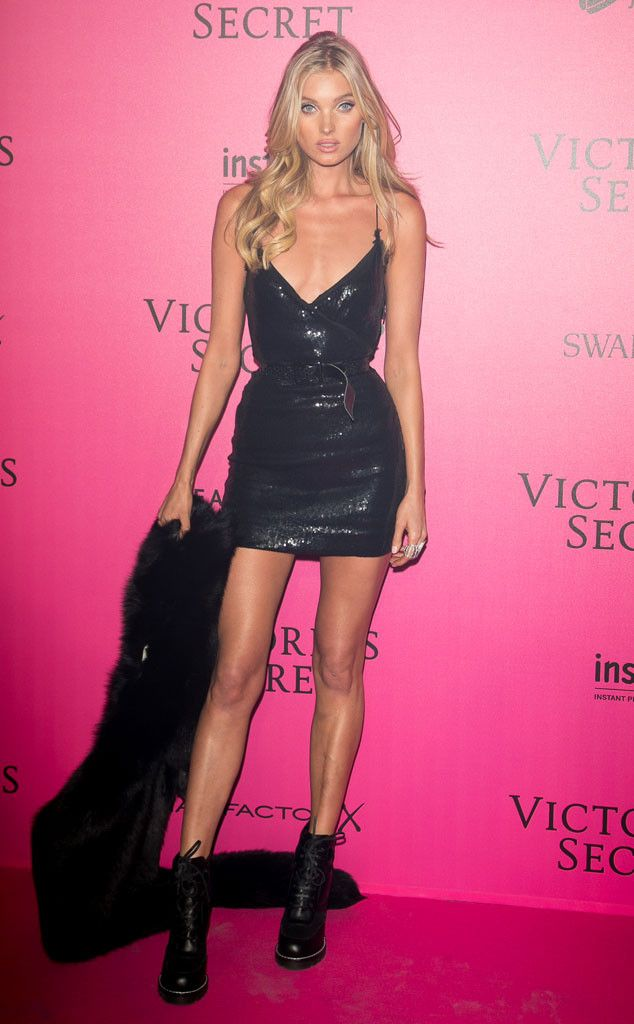 Elsa Hosk from Victoria's Secret Fashion Show 2016 Pink Carpet Arrivals The Swedish stunner looked glamorous in a little black sequin dress accessorized with a fur stole.