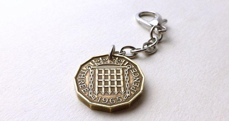English charm, Coin charm, Coins, Vintage charm, Purse charm, Handbag charm, Vintage keychain, UK charm, Zipper pull, British, Charms, 1965 by CoinStories on Etsy