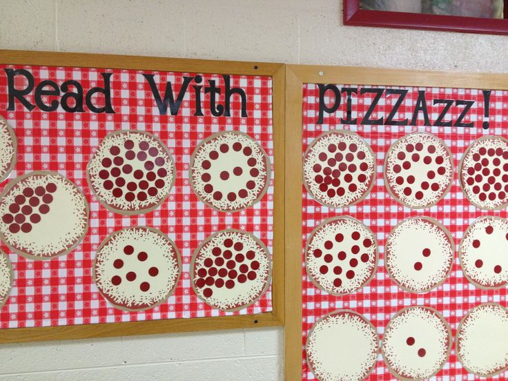 Bulletin board for the school's Accelerated Reader contest. Each pepperoni represents 20 AR points. Made with my Silhouette Cameo :)