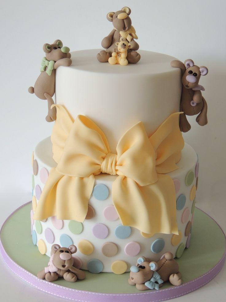 BOLO DE BATIZADO: 10 idéias que vão te deixar com água na boca #6 www.amaecoruja.com Teddies, Polka Dots & Bow Baby Shower Cake By mrsvb78 - (cakecentral)