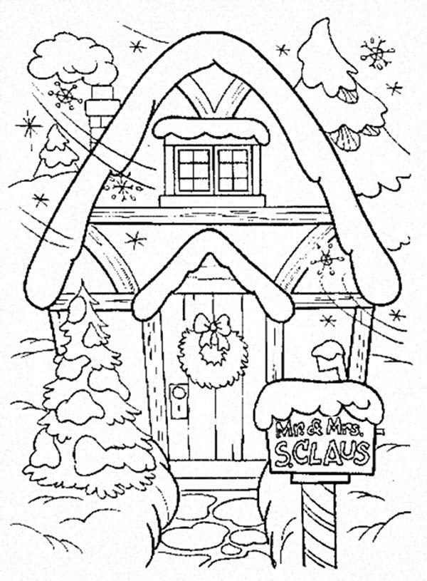 santa house | Christmas, : Santa's House as Christmas Gingerbread House Coloring ...