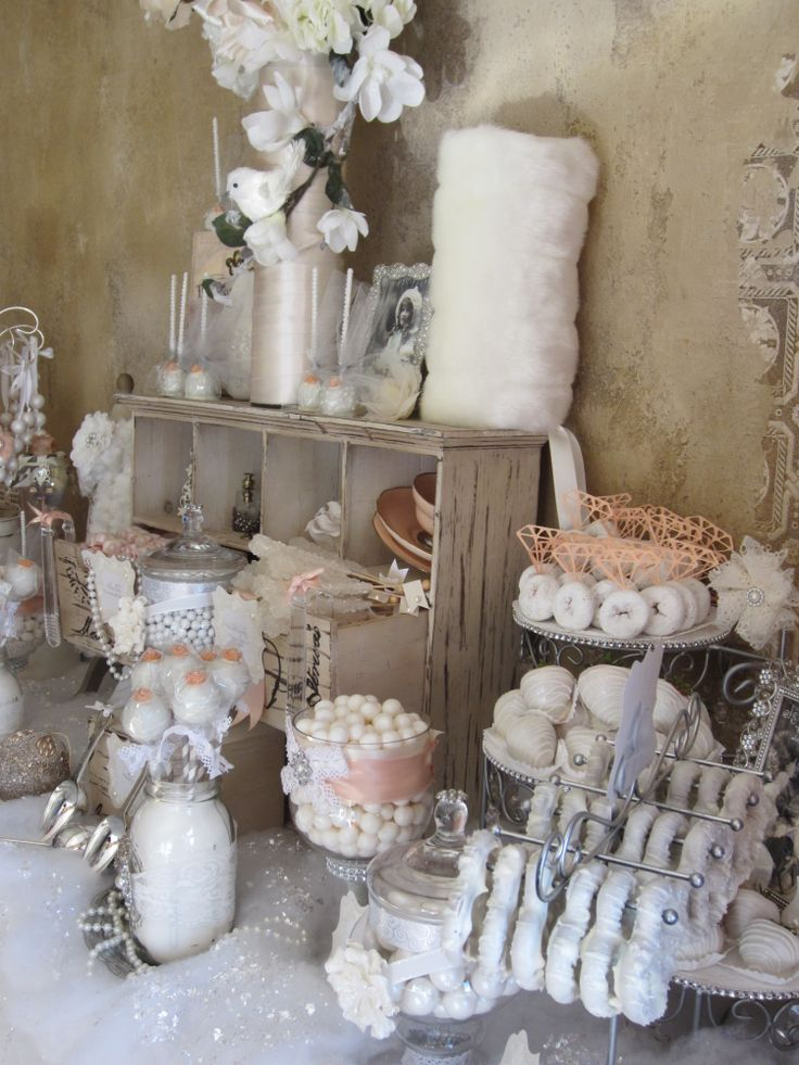 wedding shower candy buffet ideas%0A Vintagewinter bridal shower candy buffet   dessert buffet  candy bar  dessert bar