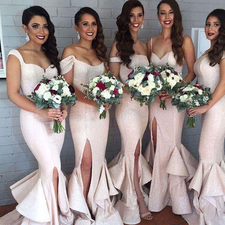 Find More Bridesmaid Dresses Information about Off Shoulder Bridesmaid Dresses 2016 Pink Sequins Mermaid Wedding Formal Dress Front Split Vestido Dama De Honra,High Quality dress sport,China dresses only Suppliers, Cheap dress up lovely girls from Galaxy Wedding Dress Co., Ltd. on Aliexpress.com