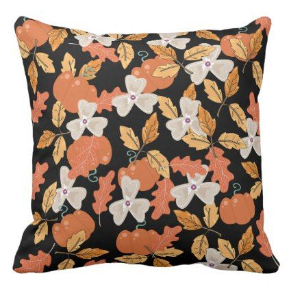 Floral Fall pattern outdoor throw pillow - holidays diy custom design cyo holiday family