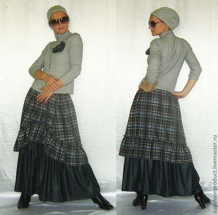 """Купить Юбка """"Богемная осень в джинсовом цвете"""" - синий, в клеточку, весенняя мода, модная юбка"""