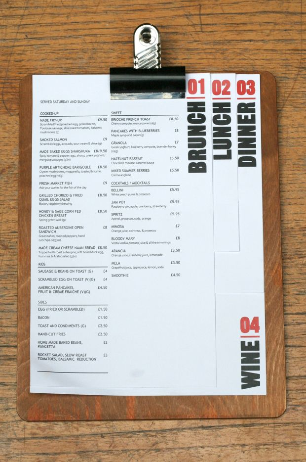 MADE Bar Kitchen 620x934 20 Impressive Restaurant Menu Designs- diferencia las cartas por momento del día