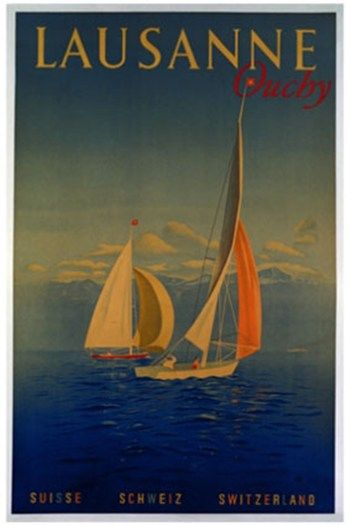 a vintage tourism-ad for Lausanne/Switzerland