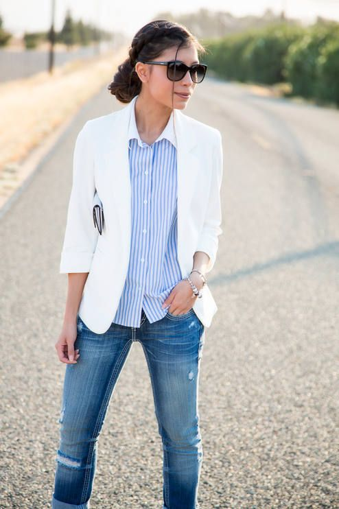 Casual Way Way to Wear a White Blazer This Summer by Stylishly Me