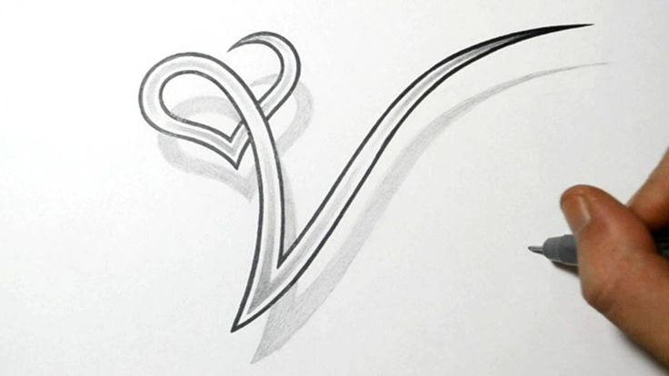 drawing the letter v with a heart design drawing basics