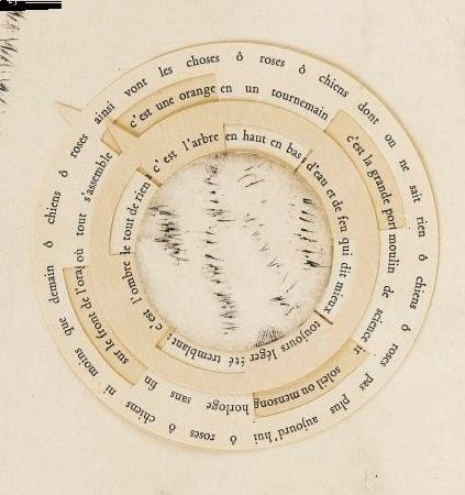 """Poème perpétuel """"La rose et le chien"""", Tristan Tzara et Pablo Picasso. Il s'agit d'un « poème perpétuel » dont le texte est imprimé   sur des volvelles (disques de papier cartonné qui tournent, procédé existant depuis le XVIe siècle) montés concentriquement avec un quatrième disque gravé à l'eau-forte par Picasso, le tout monté sur une gravure. La rotation des volvelles fait apparaître des organisations de mots différentes, d'où le titre de Poème perpétuel."""