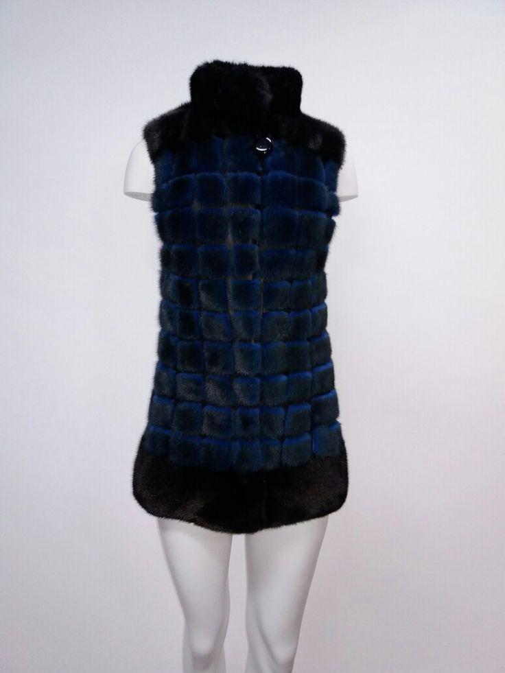 Black and blue plaid mink fur vest