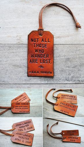 Loving these handmade leather tags by etsy seller Of The Fountain . They definitely lean towards a more masculine look but would be such a...