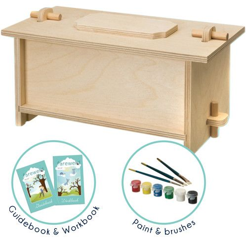 A kit that allows you to personalize your pet's burial box. A great way for kids to express grief and to give closure to families.