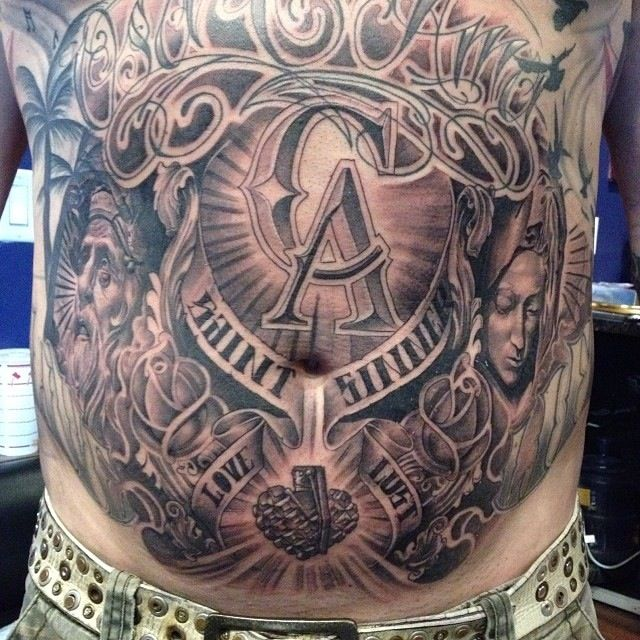 Tattoos And Body Art World: Lower Front Tattoo By Abey Alvarez.