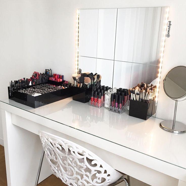 IKEA Malm dresser - all white beauty corner. Vanity organisation & clear makeup storage