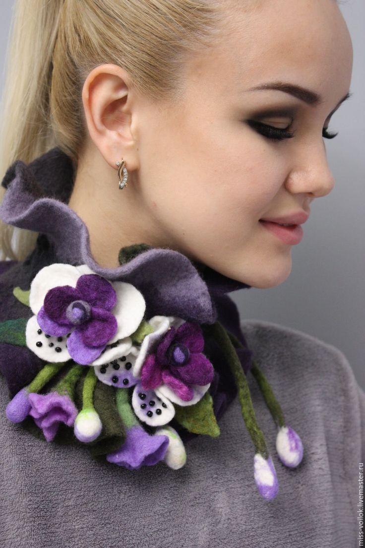 """Купить Шарф из шерсти """"Орхидея"""" (валяние) - тёмно-фиолетовый, цветочный…"""