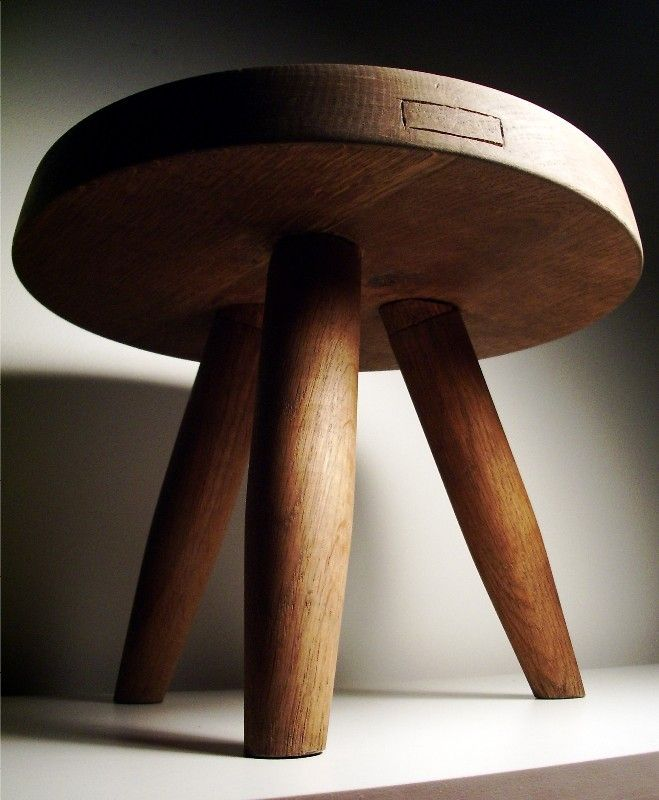Charlotte Perriand Tripod Pine Stool C 1949 Manufactured By