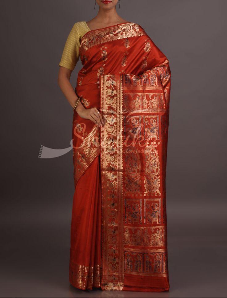 Raima Epic Motifs In Gold Red Brick Pure Baluchari Silk Saree