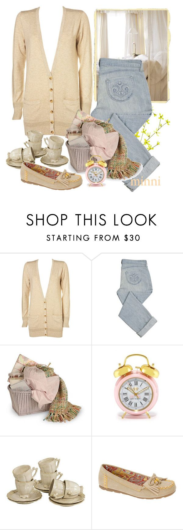 """""""Day At Home"""" by minni ❤ liked on Polyvore featuring Guide London, Siwy, Zara, Juicy Couture, cardigan, jeans, moccasin shoes, beige, clock and flowers"""