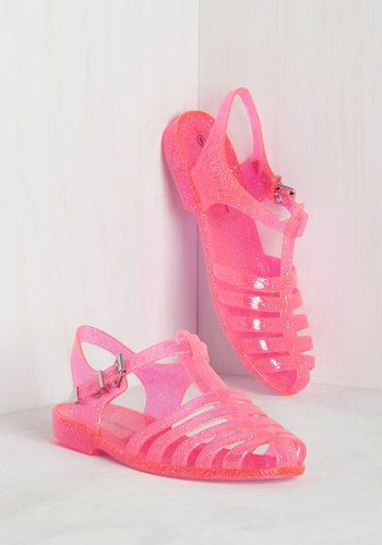 Saved by the Jelly Sandal in Hot Pink - Plastic, Pink, Solid, Casual, Beach/Resort, Vintage Inspired, 80s, 90s, Statement, Neon, Summer, Variation