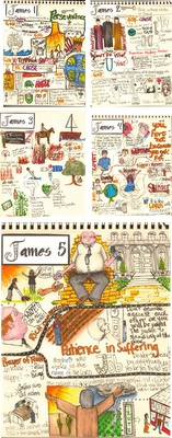 "The Complete Book of James Illustrated...I can tell my life is changing radically because I did this... I get a vision of one of my little pictures every time I'm tempted to spend or grumble, or whatever!  I highly recommend ""journaling"" your favorite book of the Bible!"