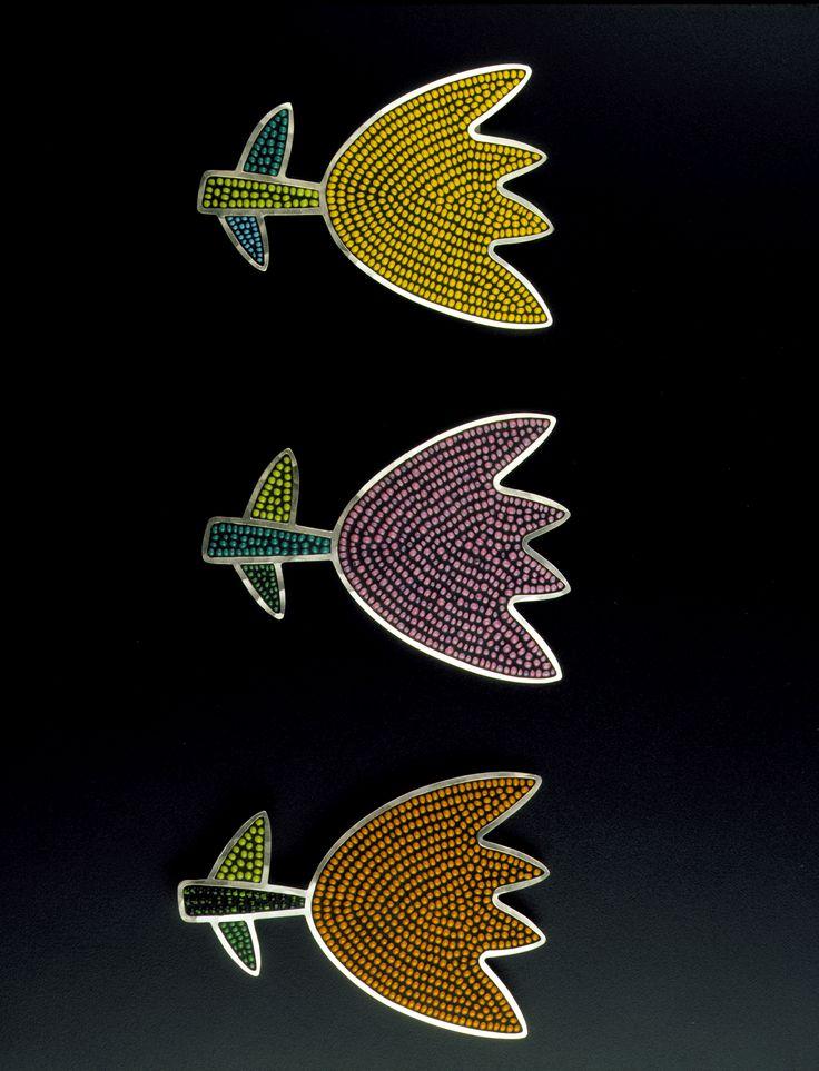 Mary Kanda Sterling & inlaid beads tulip brooches - ameyermedia