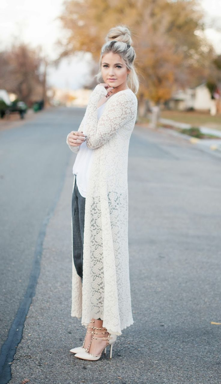 Cara Loren in ShopRiffraff's Cream Lace Long Overlay Cardigan!! This shop has the cutest trends at the best prices!