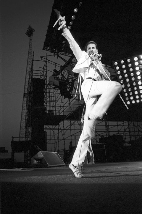 Freddie Mercury onstage at Wembley Stadium, 1986.
