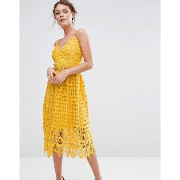 True Decadence Lace Midi Dress with Cutwork Hem ($103) ❤ liked on Polyvore featuring dresses, yellow, lace dress, v neck dress, lace midi dress, v-neck skater dresses and v neck midi dress