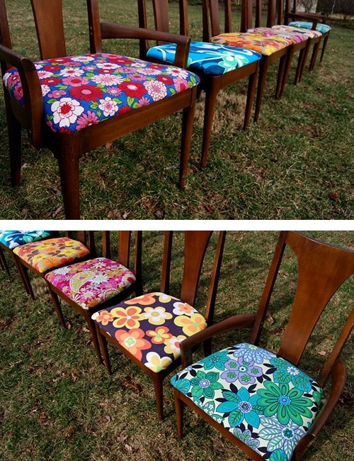 Recovering older chairs with different pieces of fabric - vintage or not. Like.