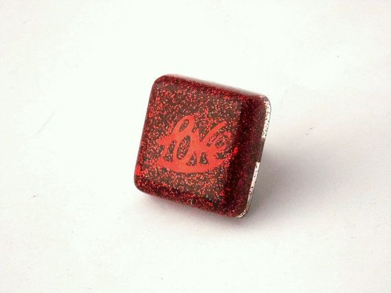 Red Love Glitter Resin Square Adjustable Ring by LilRedsBoutique, €8.00