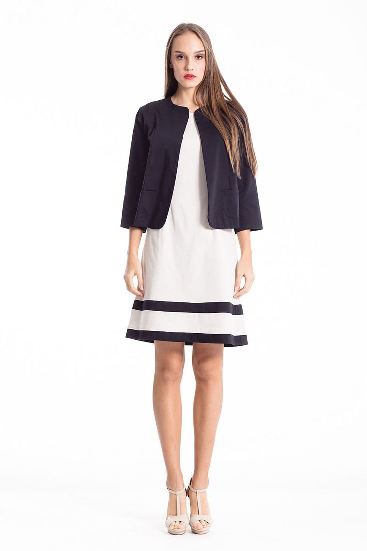 An Open Front Cropped Jacket is the answer if you are looking for a jacket that highlights your outift and not oushining it! Shop the Jacket in the link below and find the dress in the dresses section in www.conquista-dress.com