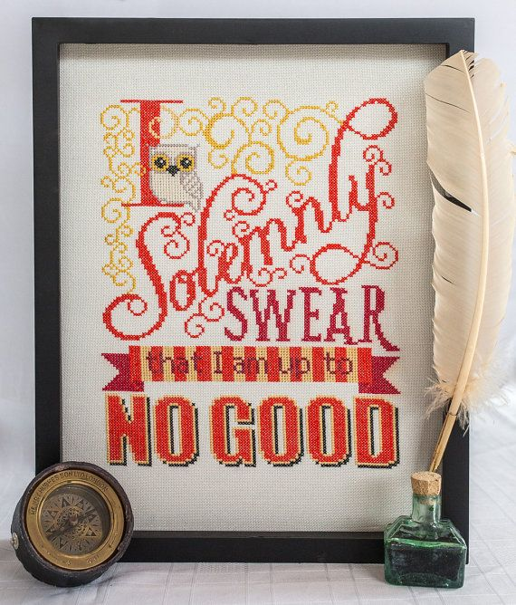 Solemnly Swear Cross Stitch Pattern - I Solemnly Swear I am up to No Good - Digital PDF Downloadable Pattern