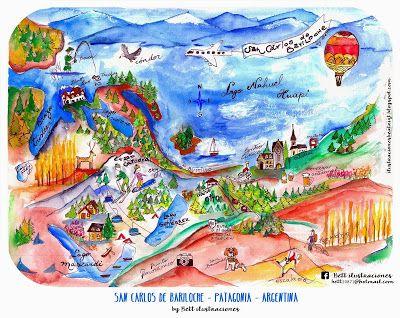 Mapa Ilustrado Bariloche, Patagonia Artentina