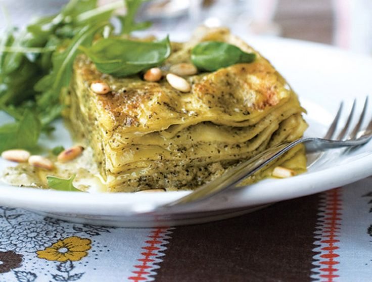 A vegetarian lasagne recipe that's unbelievably light and so simple to prepare, the home made pesto mixes wonderfully well with the ricotta cheese.