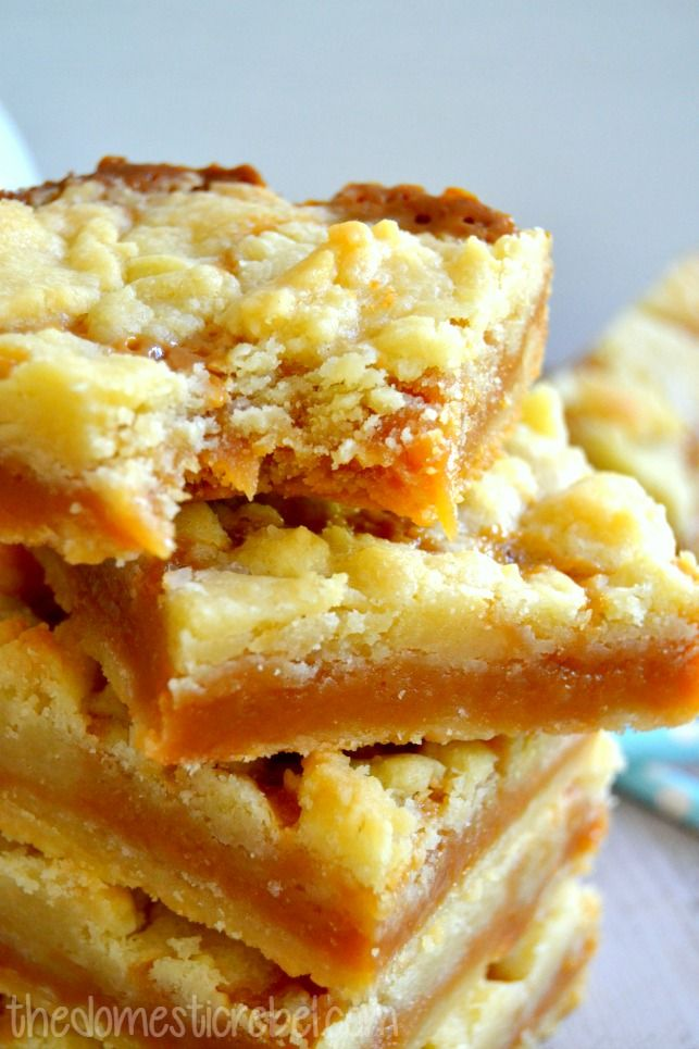 These Salted Caramel Butter Bars are packed with buttery goodness! Thick and chewy, they're topped with a butter-cookie streusel and filled with rich, melt-in-your-mouth salted caramel. The best bar recipe!