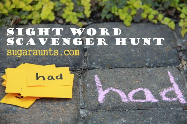 Give each child a word card and have him find the matching chalk-written word outdoors... reading with a bit of exercise. :)