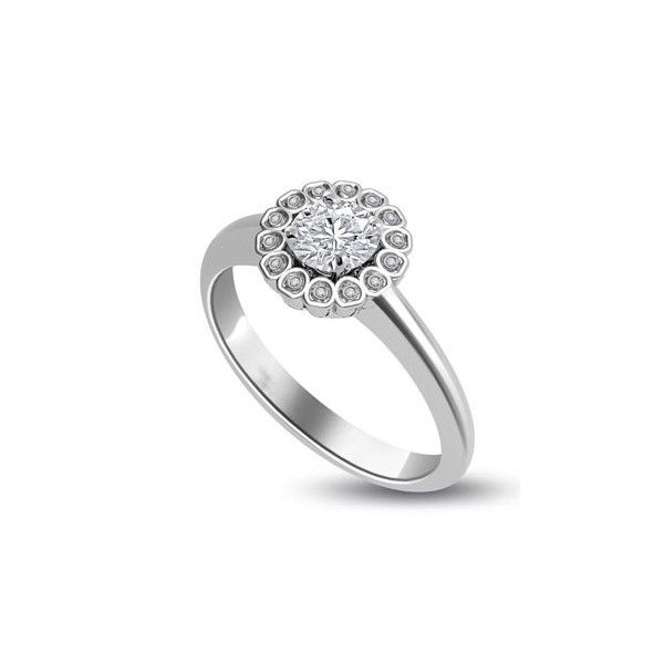 ANELLO CLUSTER CON DIAMANTE 18CT ORO BIANCO | Anello Cluster.La pietra centrale taglio brillante e` montata in un incastonaturta e le 14 pietre, taglio brillante, circostanti sono montate in un incastonaturta a battita. Il totale carati dei diamanti per questo anello e` disponibile da 0.45ct a 0.60ct. La pietra centrale taglio ovale che varia da 0.31ct a 0.46ct, con 14 diamanti taglio brillante che pesano 0.01 ciascuno. Tutti i diamanti sono disponibili da F ad I colore e da VS1 a HSI1…