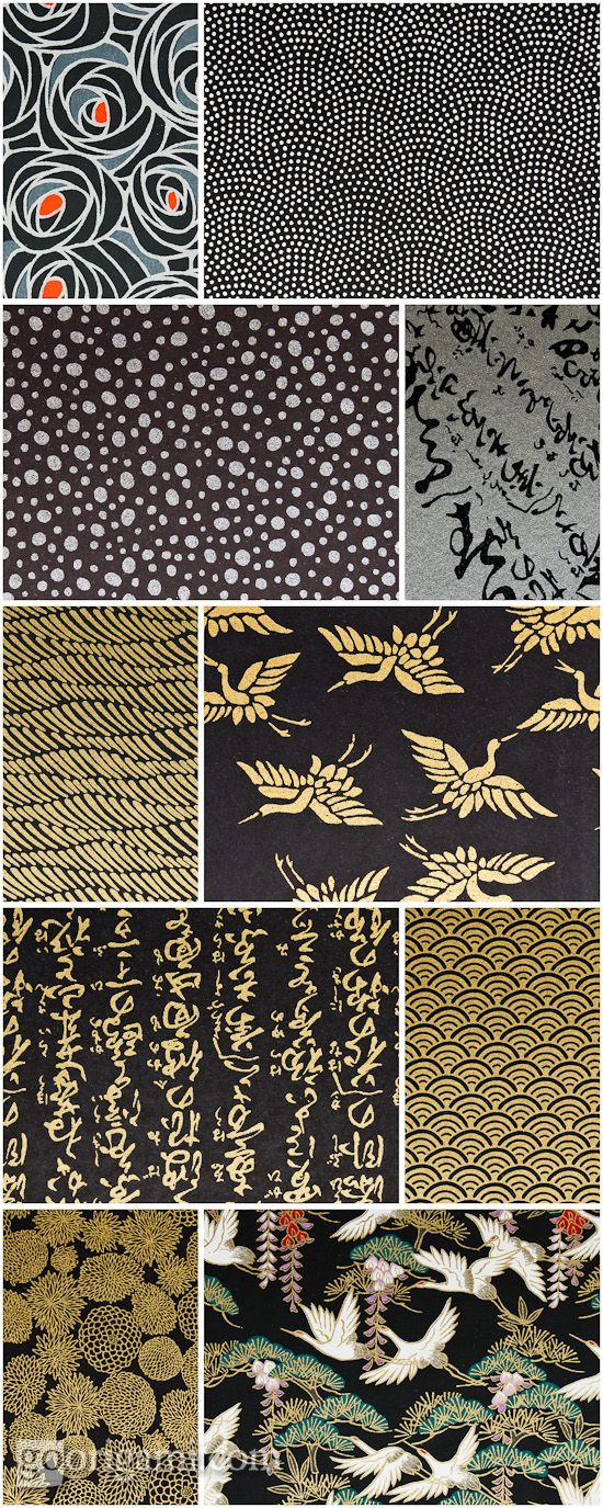 Chiyogami paper patterns (black)