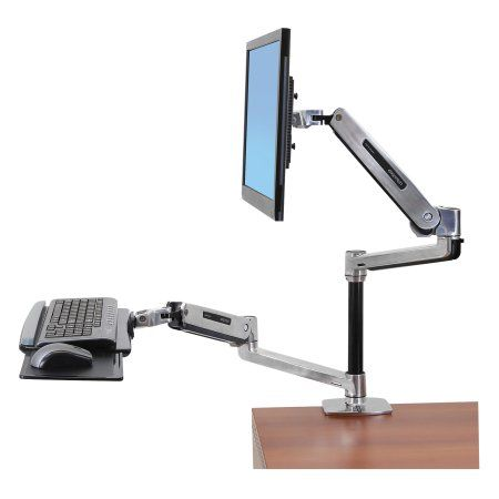 Ergotron WorkFit-LX Sit-Stand Workstation Mount System, Polished Aluminum, Multicolor