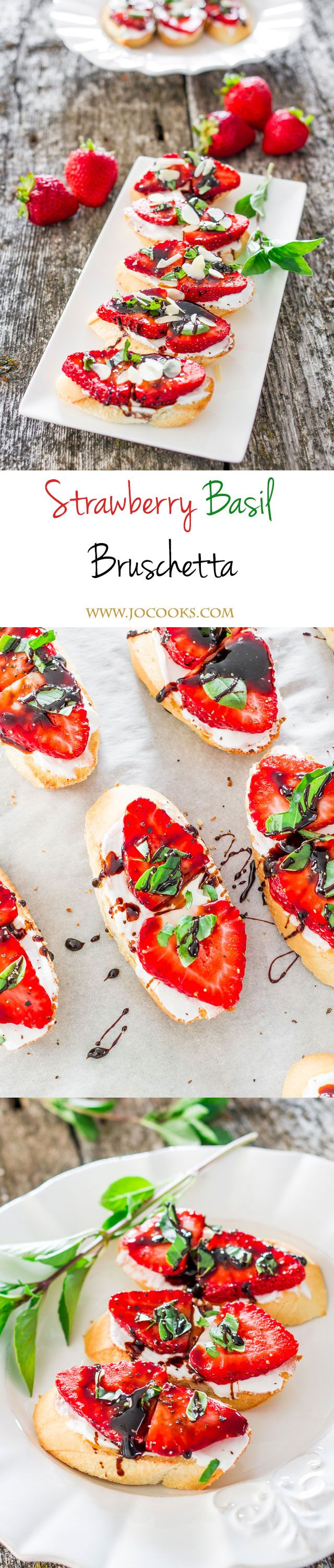 Strawberry Basil Bruschetta -Greek yogurt, fresh strawberries, basil and balsamic reduction over a French baguette gives you perfection.