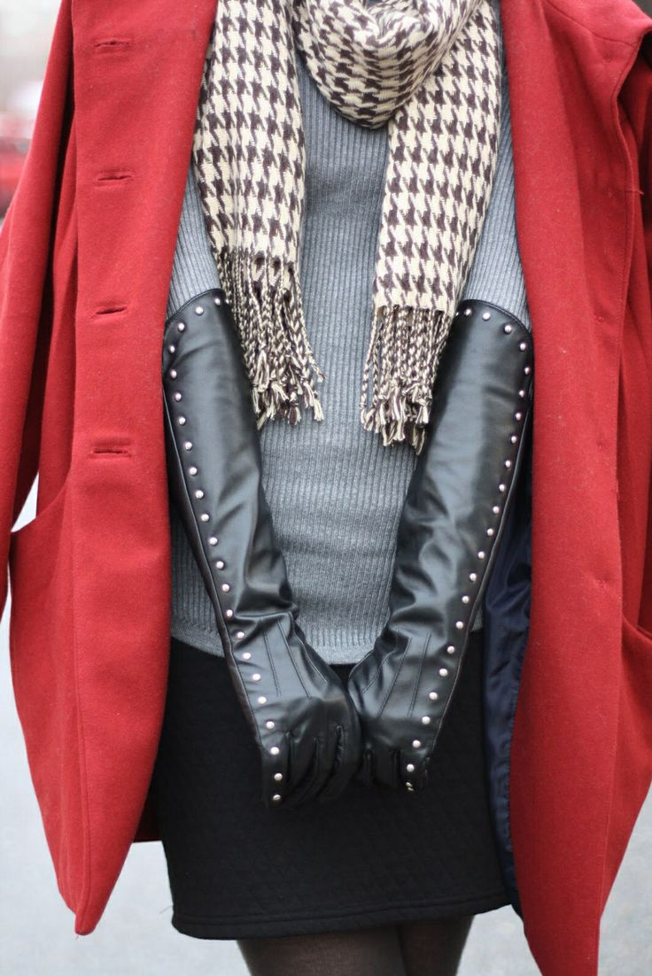 Black leather gloves cape town - Long Leather Gloves Fall Winter Fashion Studded Gloves