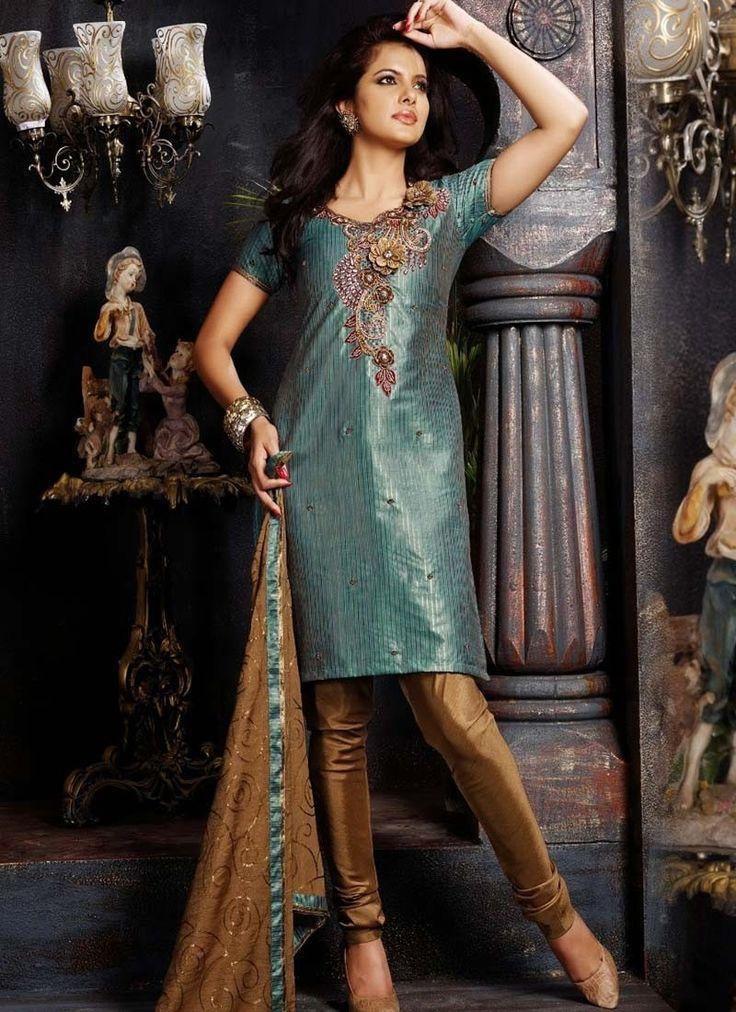Blue Grey Dupion Designer Salwar