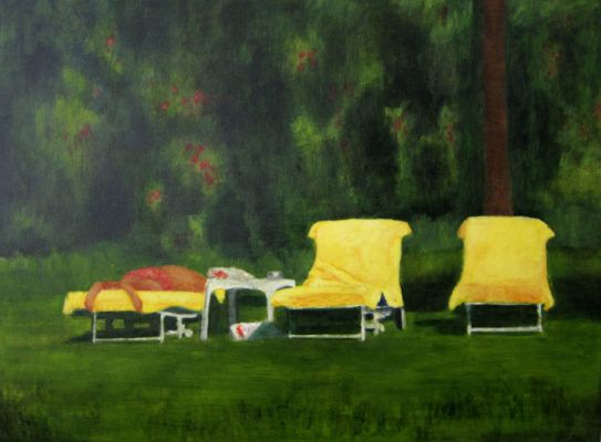 Cape Town Artist Kirsten Lilford paints the everyday. Capturing snapshots of family outings, domestic scenes & suburban landscapes through her brush. Come by our Abbotsford gallery today & take a closer look at how she's casts these quirky deck chair subjects in an uncanny light. We're open Sat 10-2 // 'Summer Afternoon' by Otomy's Artist @kirstenlilford
