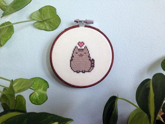 Crazy adorable Pusheen cross  stitch pattern!